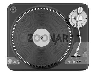top view of black turntable isolated on white background
