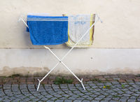 Towels drying on clothes horse