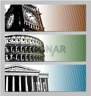 Europe travel banners illustration