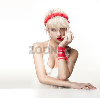 blonde woman on white