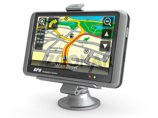 Navigation system. Gps on white isolated background. 3d