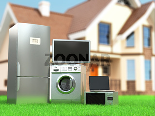 Home appliances. Tv, refrigerator, microwave, laptop and  washing maching.