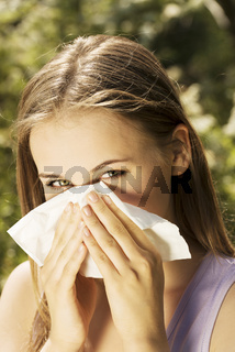 Young woman with allergy