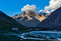 Lahaul valley in Himalayas on sunset