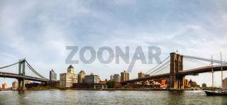 Cityscape of Brooklyn with Brooklyn bridge