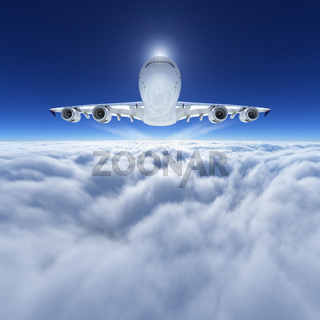 Airbus A 380 cruising at 36000 feet above clouds