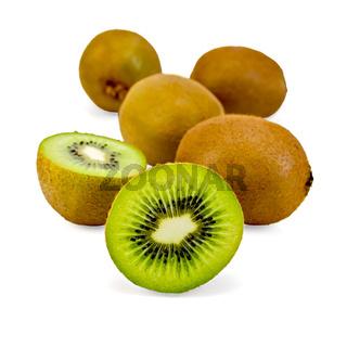 Kiwi whole and halved