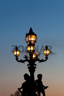 Streetlamp in the bridge Alexander III, Paris, Ile de France, France