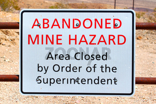 Abandoned Mine Hazard Sign