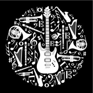Black and white love for music concept illustration background