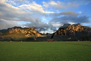 Mountains at sunset. Bavaria, Germany.
