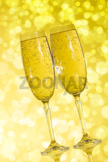 Champagne  on the yellow background
