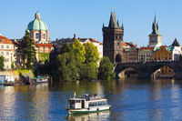 Prague, the Czech Republic - Boat on Vltava near the Charles Bridge