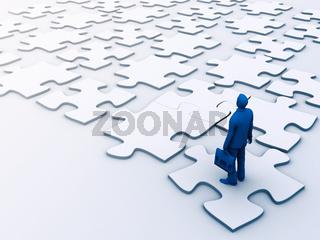 business men making a puzzle