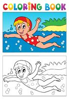 Coloring book swimming theme 2 - picture illustration.