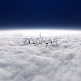 Airbus A 380 cruising at 36000 feet with contrail behind