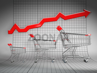 Sales growth. Shopping basket and graph. 3d