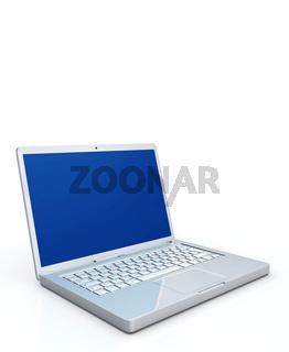Mobiler Computer vor weissem Hintergrund