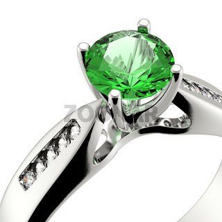 Wedding ring with diamond on white background. Sign of love. Emerald