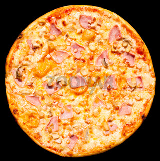 pizza with ham and mushrooms, isolated