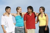 mixed group of diverse students, teens, teenagers or youth,