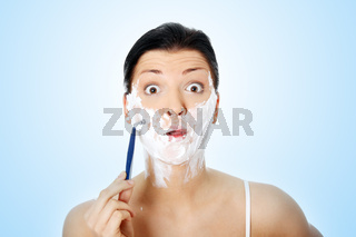 Young woman have shave