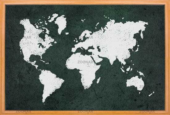 World map draw on blackboard