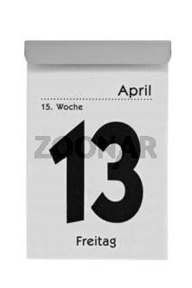 Abreißkalender zeigt Freitag den 13.
