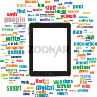 tablet pc in social media words, communication in the global computer networks