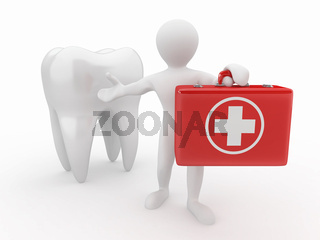 Stomatologist. Tooth and Men with medical kit. 3d