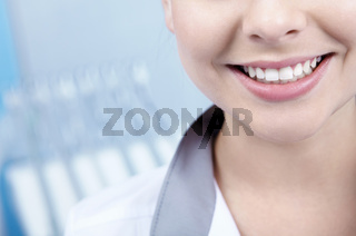 Beautiful young woman smiling closeup