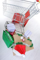 Shopping cart with boxes and bags