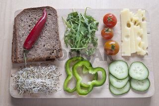 Raw food ingredinent on wooden cutting board