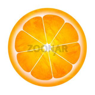 Slice of orange painting illustration isolated on white background