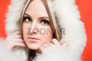 beautiful woman in fur hood