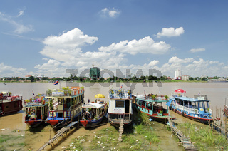 tourist boats on phnom penh riverside cambodia