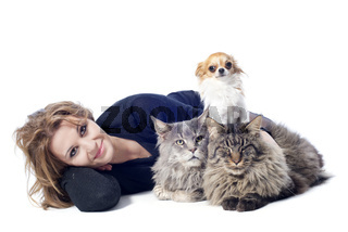 woman and pets