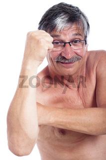 Man fist gesturing