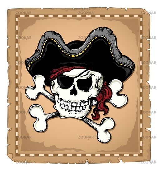 Vintage pirate skull theme 2 - picture illustration.