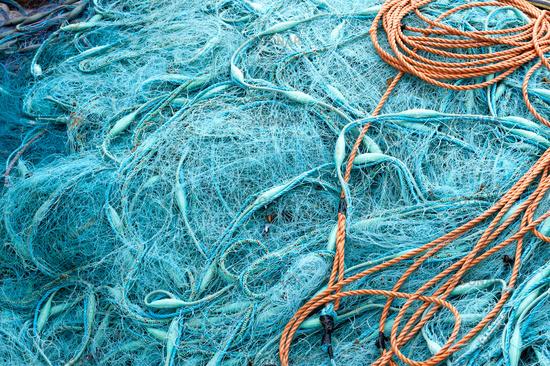 рыболовная сеть голубая