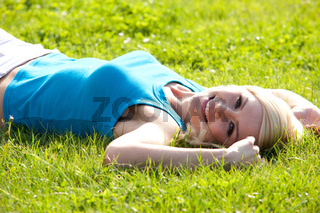 beautiful blonde on the grass