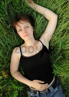 The girl in a grass