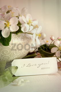 Apple blossoms and gift tag