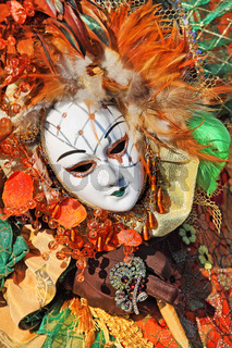 Traditional carnival mask and costume. Venice, Italy.