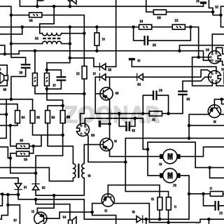 Electronic black and white diagram - seamless texture