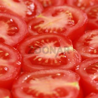 Hintergrund aus halben Tomaten