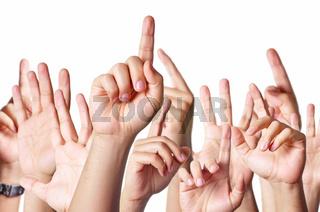 Hands raised together