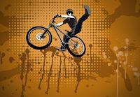 Radfahrer beim Sprung