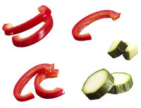 Sliced bell pepper and courgette