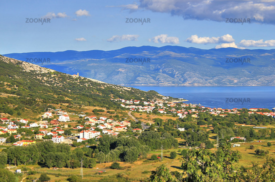 Baska bay mountain and sea landscape